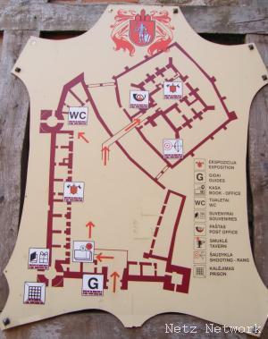 Карта замка в Тракае